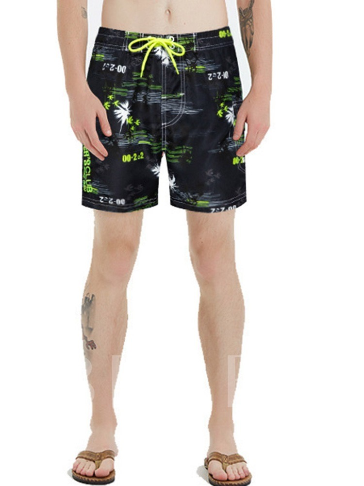 Lace-Up Letter Straight Men's Beach Shorts