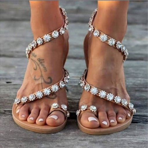 Toe Ring Slip-On Flat With Rhinestone Sandals