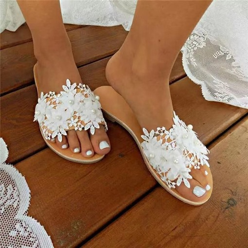 Flip Flop Lace Slip-On Flat With Rubber Slippers