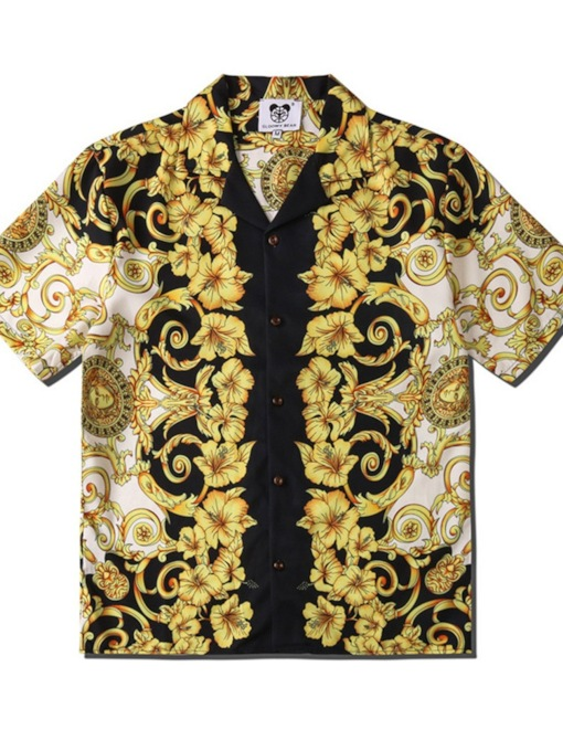 Button Floral Lapel Single-Breasted Loose Men's Shirt