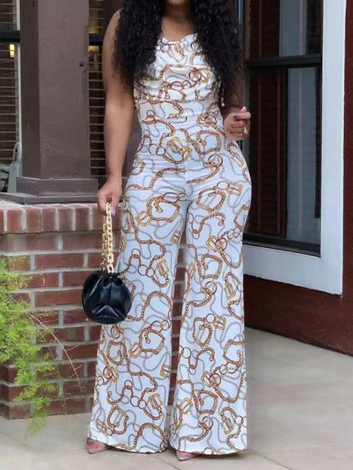 Office Lady Print Full Length Slim Summer Women's Jumpsuit