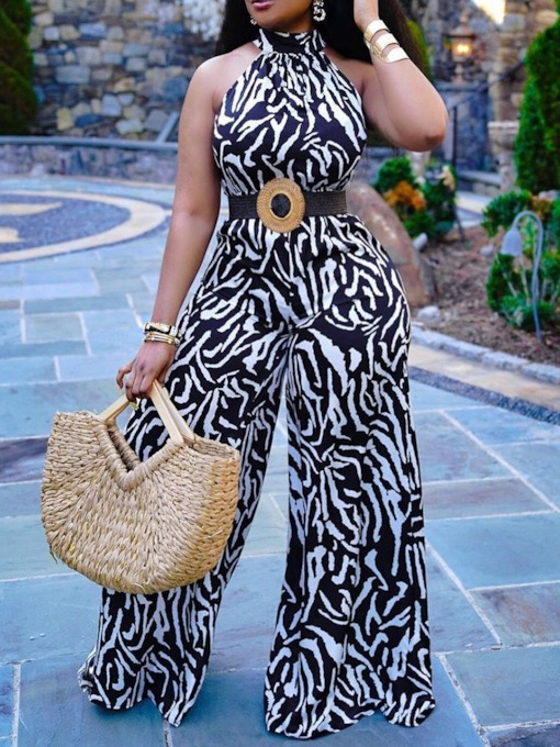 Full Length Print Wide Legs Thin Women's Jumpsuit