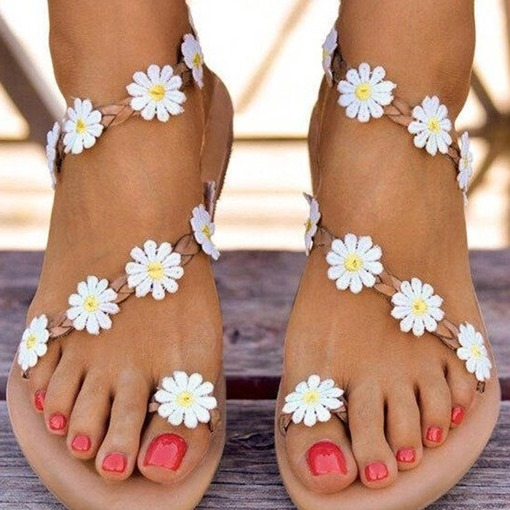 Toe Ring Flat With Slip-On Ankle Strap Floral Sandals