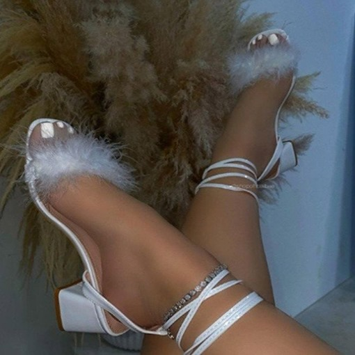 Lace-Up Open Toe Chunky Heel Feather Sandals