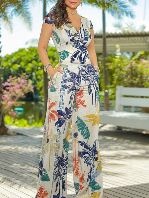 Floral Full Length Print Casual Slim Women's Jumpsuit