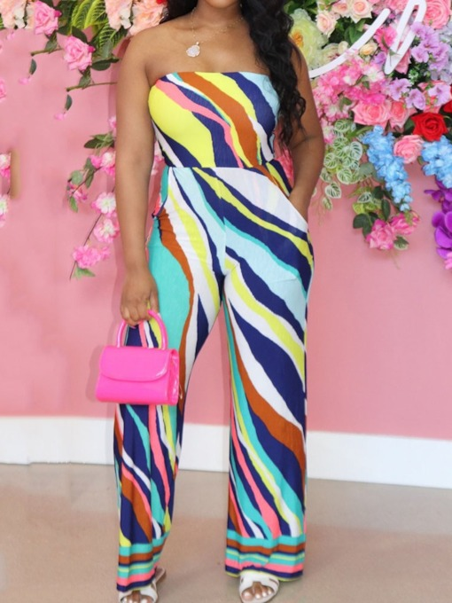 Casual Full Length Print Stripe Straight Women's Jumpsuit