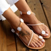 Slip-On Flat With Toe Ring Appliques Sandals