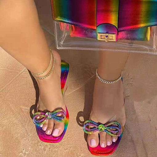Flip Flop Flat With Slip-On Bow Western Slippers