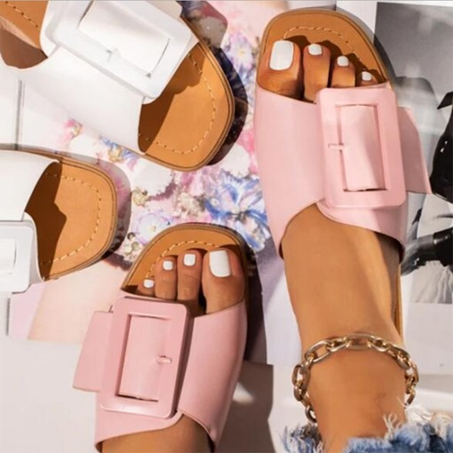 Buckle Flip Flop Flat With Slip-On Plain Slippers