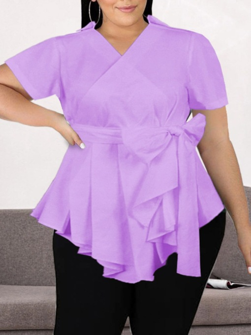 Plus Size Lace-Up Regular Mid-Length Women's Blouse
