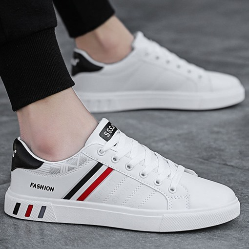 Lace-Up Low-Cut Upper Color Block Round Toe Skate Shoes