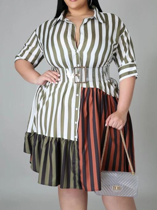 Plus Size Three-Quarter Sleeve Patchwork Knee-Length Lapel Color Block Women's Dress