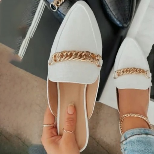 Flat With Slip-On Chain Closed Toe Compound Slippers