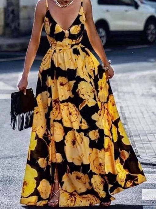 Floor-Length V-Neck Sleeveless Split Floral Women's Dress