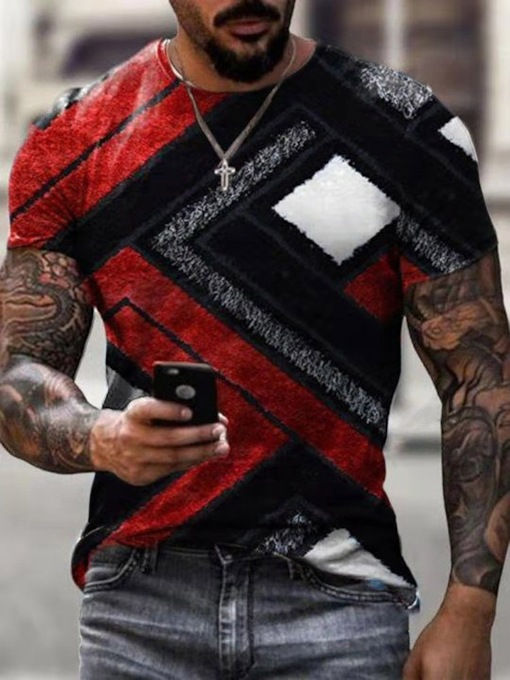 Print Casual Round Neck Color Block Pullover Slim Men's T-shirt
