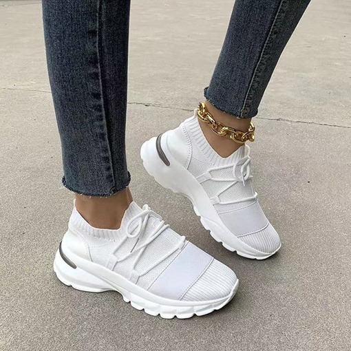 Cross Strap Round Toe Lace-Up Mid-Cut Upper Plain Sneakers