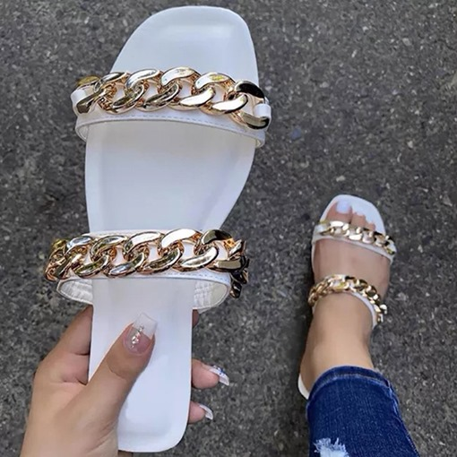 Flat With Slip-On Chain Flip Flop Summer Slippers