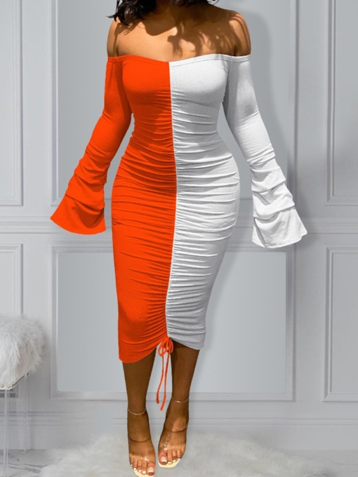 Off Shoulder Long Sleeve Pleated Mid-Calf Sexy Women's Dress
