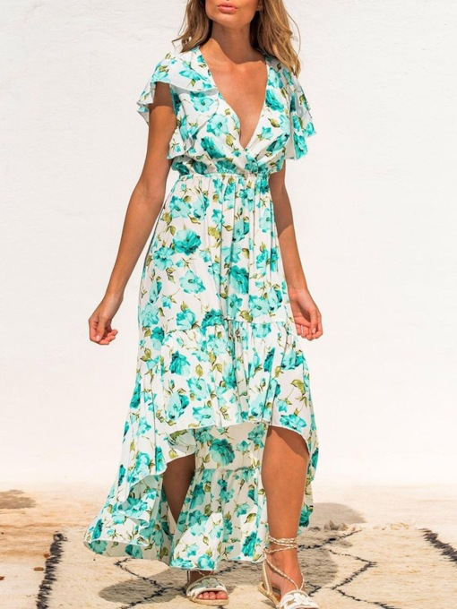 Short Sleeve Print V-Neck Ankle-Length Asymmetrical Women's Dress