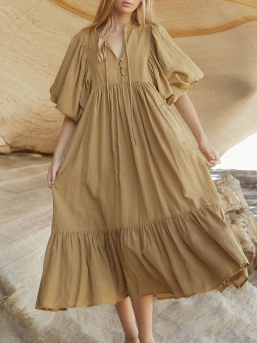 Mid-Calf Half Sleeve Button Expansion Women's Dress