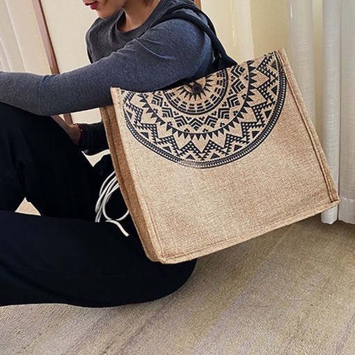 Thread Geometric Canvas Tote Bags