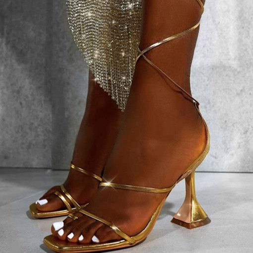 Lace-Up Square Toe Western Casual Sandals