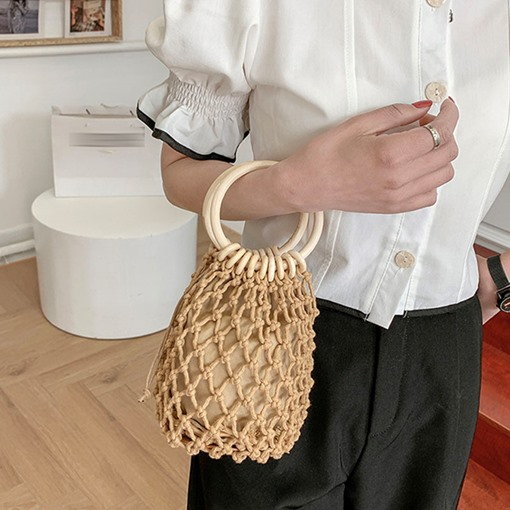 Fashion Plain Knitted Barrel-Shaped Tote Bags
