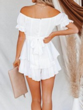 Fashion Backless Shorts Plain Culottes Women's Rompers