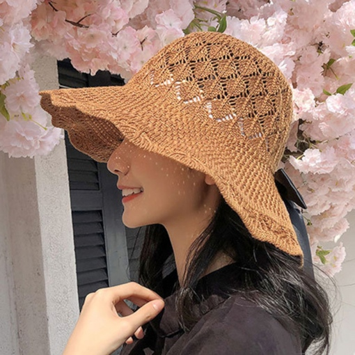 Straw Plaited Article Bucket Hat Bowknot Summer Hats