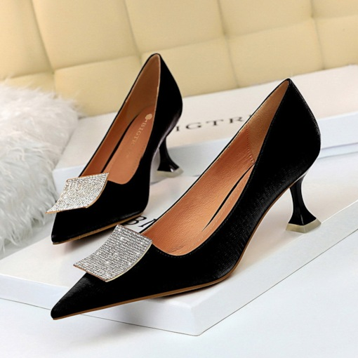 Slip-On Pointed Toe Sequin Banquet Thin Shoes