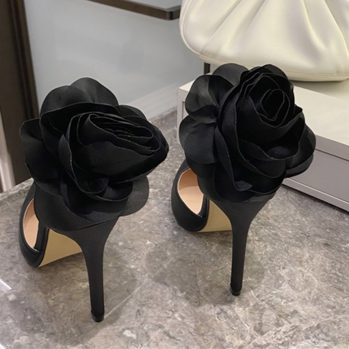 3D Stiletto Heel Buckle Pointed Toe Plain Thin Shoes