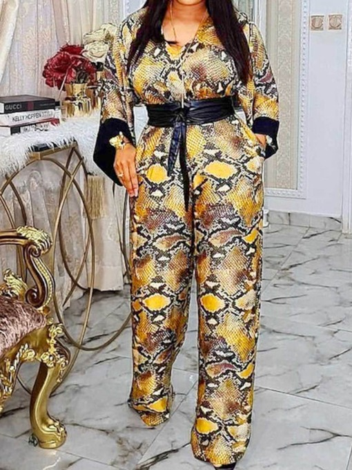 Full Length Serpentine Casual Print Straight Women's Jumpsuit