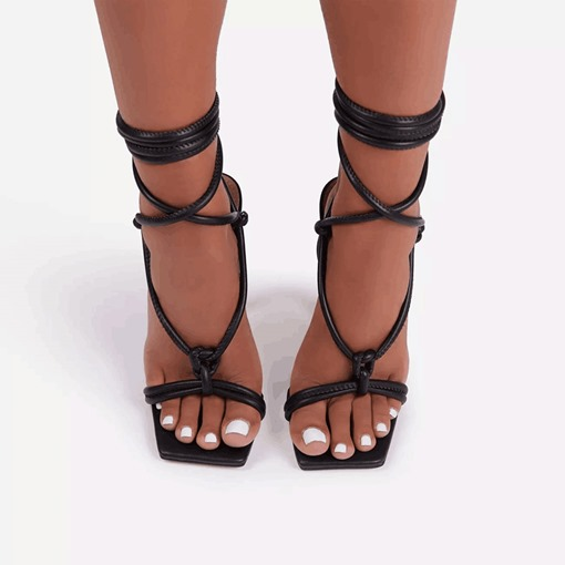 Lace-Up Square Toe Spool Heel Simple Sandals