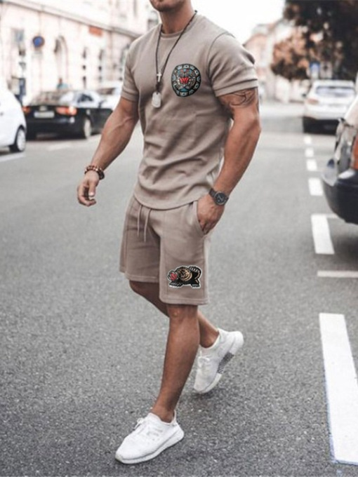 Lace-Up T-Shirt Casual Fall Short Sleeves Men's Outfit