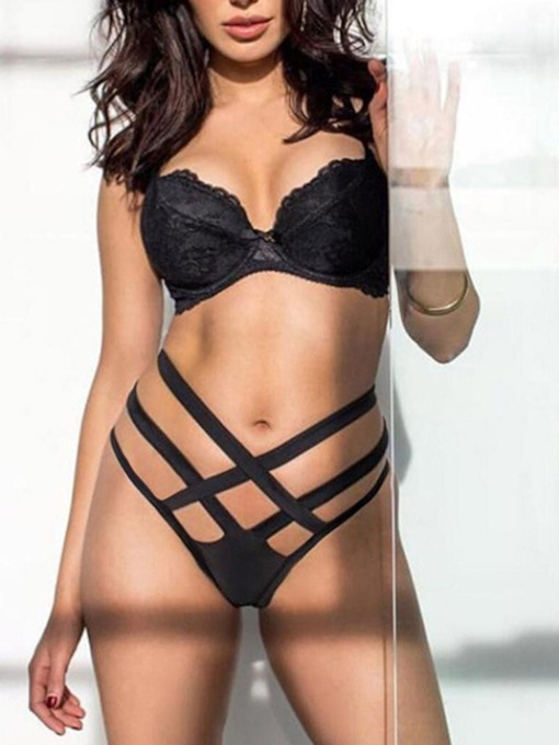 Lace Plain Polyester Three-Point Sexy Bra Sets
