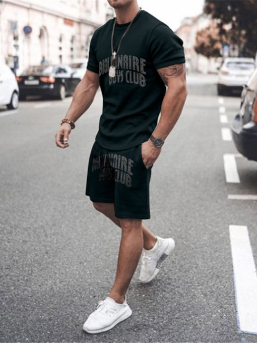 Casual Pants Print Summer Short Sleeves Men's Outfit
