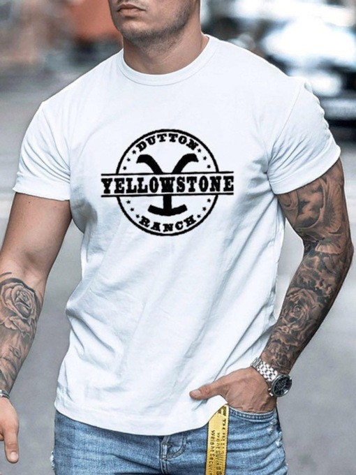 Print Casual Letter Round Neck Pullover Men's T-shirt