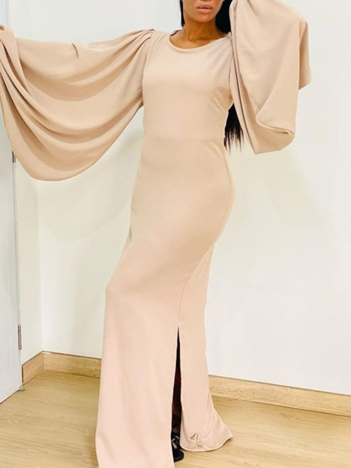 Long Sleeve Pleated Round Neck Floor-Length Simple Women's Dress