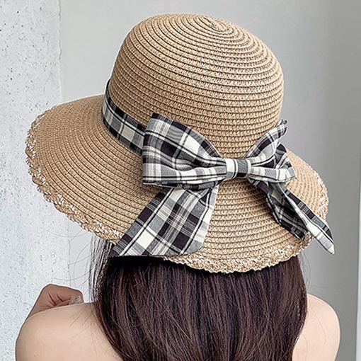 Straw Plaited Article European Bowknot Spring Hats