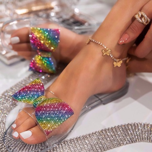 Flip Flop Flat With Slip-On Rhinestone Rubber Slippers