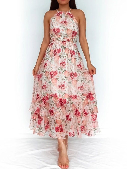 Print Ankle-Length Sleeveless Floral Women's Dress