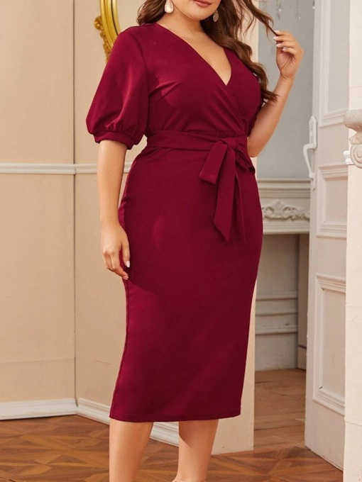 Plus Size V-Neck Mid-Calf Lace-Up Half Sleeve Pullover Women's Dress
