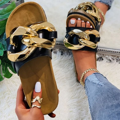 Sequin Flat With Slip-On Flip Flop Patchwork Slippers