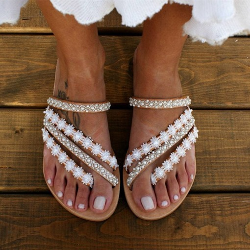 Rhinestone Slip-On Flat With Flip Flop Casual Slippers