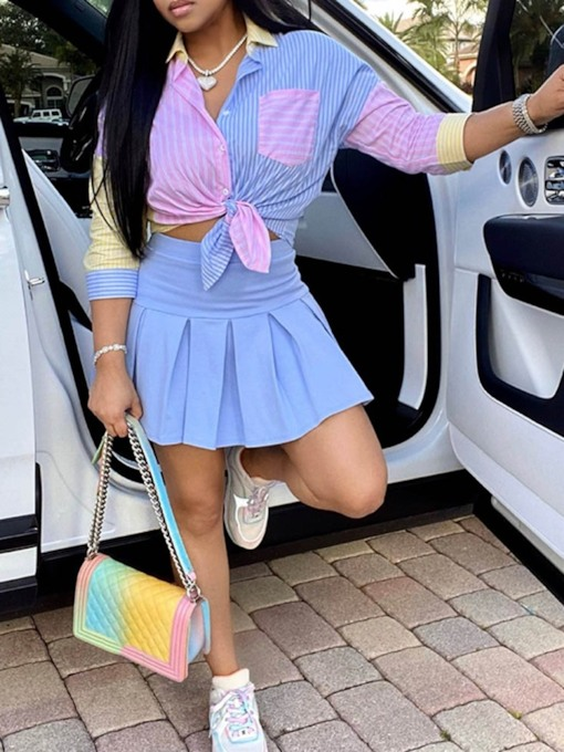 Patchwork Skirt Fashion Color Block Pleated Women's Two Piece Sets