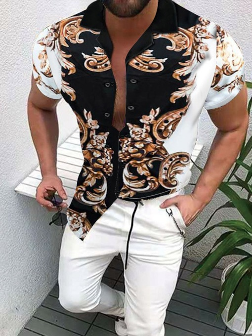 Button Pants Casual Short Sleeves Summer Men's Outfit