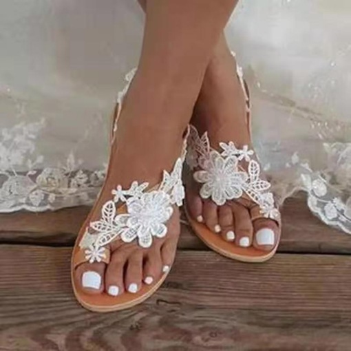 Thong Slip-On Appliques Flat With Rubber Slippers