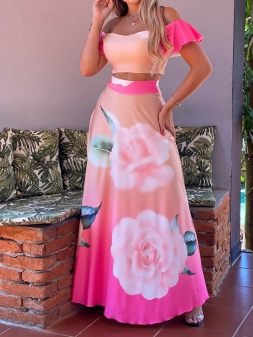 Skirt Backless Floral Office Lady Off Shoulder Women's Two Piece Sets