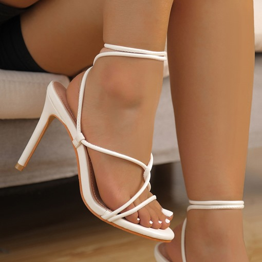 Open Toe Lace-Up Stiletto Heel Professional Sandals