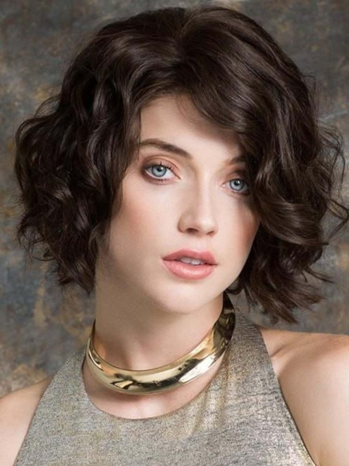 Women's Short Layered Hairstyles Wavy Synthetic Hair Capless 130% 12 Inches Wigs